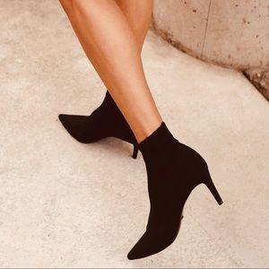 Cole Haan—Crushed Velvet Sock Bootie, Kitten Heel